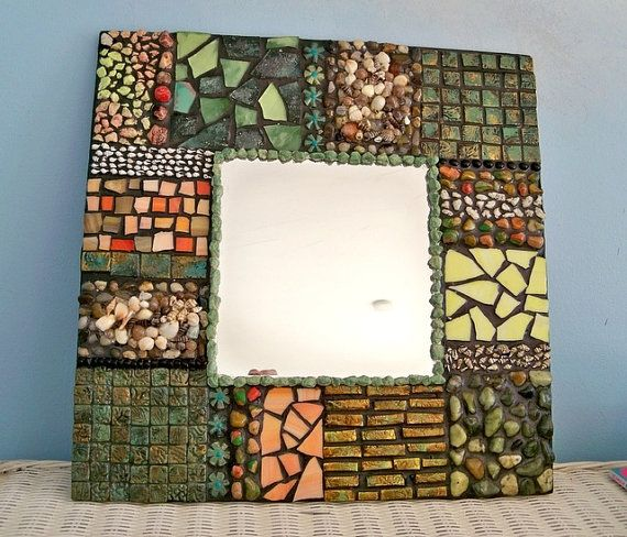 mirror ,wall decor organic, wall mirror, mosaic mirror,  shells tiles and colored glass, beach mirror, mixed media mirror, handmade mirror