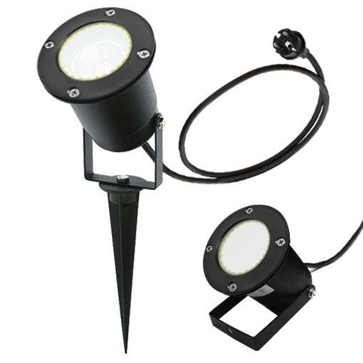 LED Erdspießleuchte/ Schwarz/ Gartenstrahler/ Bodenleuchte/ 2,5m Kabel inkl. Stecker/ GU10-230V (RUND-1538881)