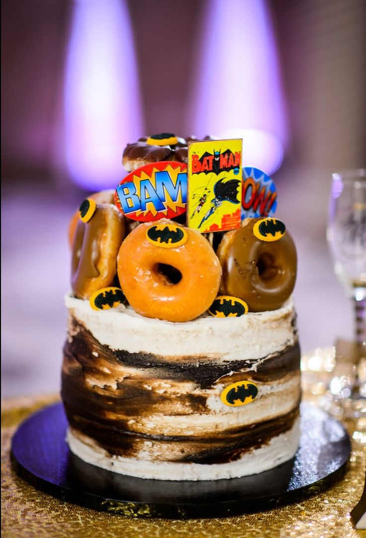 Batman donut grooms cake. Superhero cake. in 2020