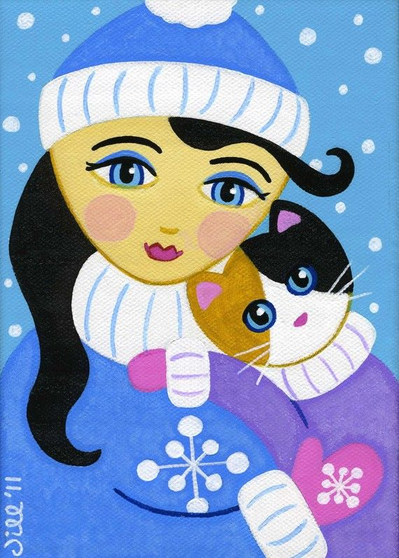 GIRL and Calico CAT Winter Snow Folk Art PRINT from Original Painting by Jill