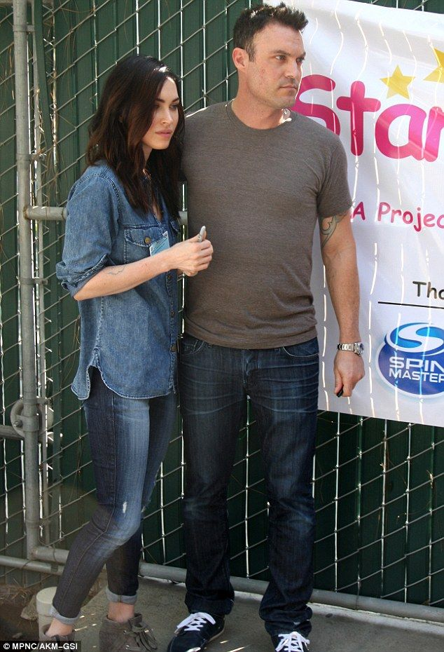I love how Megan Fox does the laid-back all-denim look here and I love her grey lace-up booties.