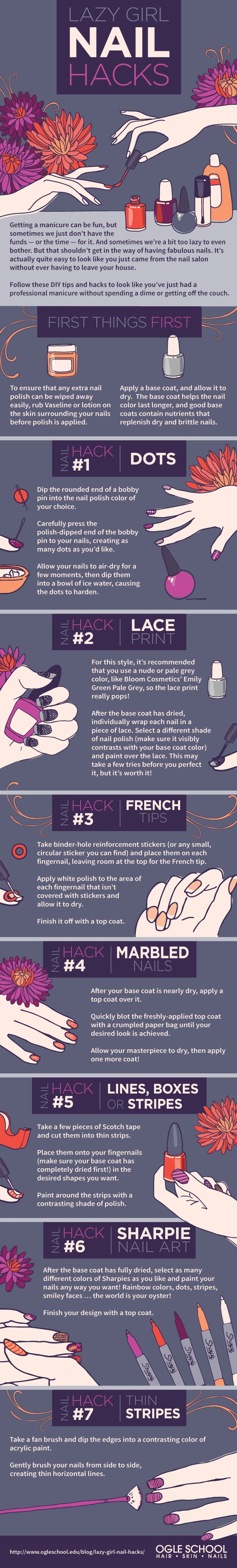 Lazy Girl Nail Hacks  [by Ogle School -- via #tipsographic]. More at tipsographic.com
