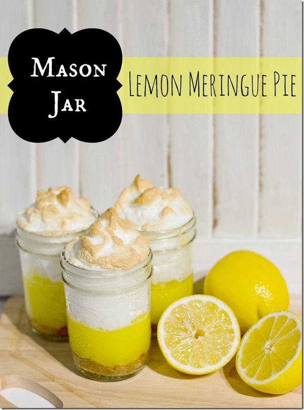 Lemon Meringue Pie made in Mason Jar #masonjars #masonjarcraftslove