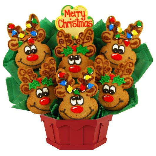 Coming soon to a rooftop, or a doorstep, near you. Our enchanting reindeer cookie bouquet spreads holiday cheer long before Christmas Eve.