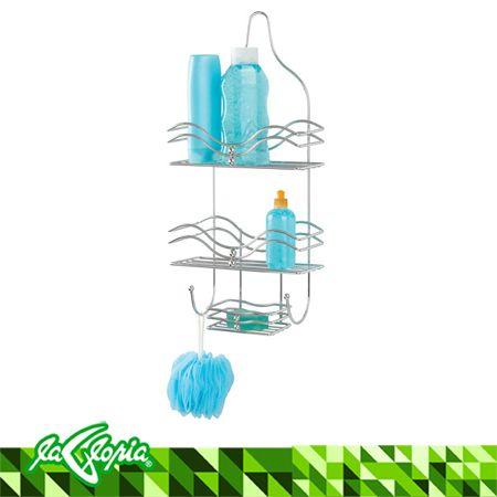 Organizador cromado de ducha con 2 3 estantes y jabonera for Organizador para ducha