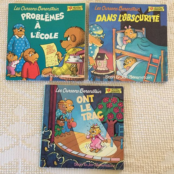 Set of 3 vintage French Berenstain Bear paperback books | Vintage Children Library | Free Priority Shipping in the US