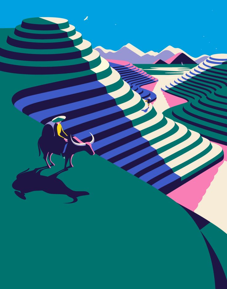 Malika Favre - Odyssée series for Kuoni France travel brochure 2016  - Asian rice fields • un-kitchy, classic art poster style à la Art Deco & Bagel cocktail • french graphic illustrator • official site: http://malikafavre.com