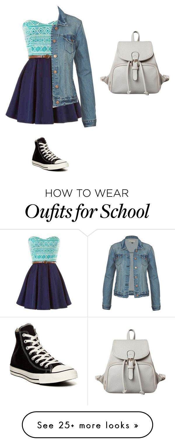 """School"" by evangelinaconstance on Polyvore featuring Converse..."