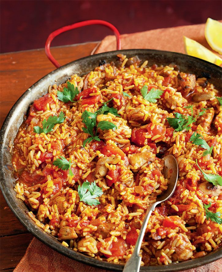 Spanish chicken & rice. Turn this into a delicious paella by adding prawns and mussels. #Woolworths #recipe #spanish http://www.woolworths.com.au/wps/wcm/connect/Website/Woolworths/FreshFoodIdeas/Recipes/Recipes-Content/spanishchickenandrice