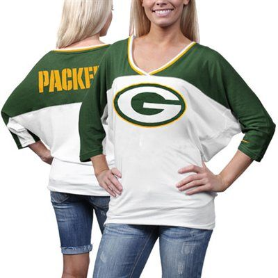 Nike Green Bay Packers Ladies Football Style Three-Quarter Sleeve T-Shirt - White/Green