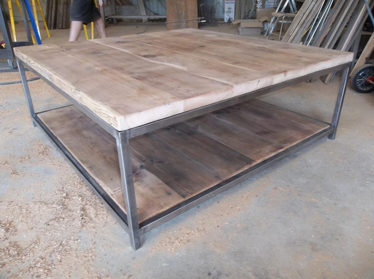 """large quare Wood Coffee table with square steel legs made of reclaimed wood, 17"""" tall x 48"""" L x 48"""" w. $1,000.00, via Etsy."""