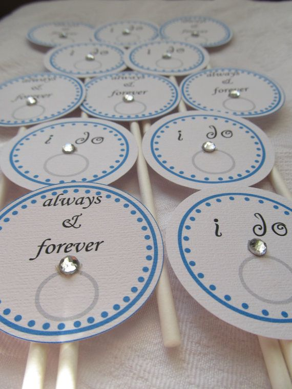 Bridal Cupcake Toppers. Wedding Cupcake Toppers. Bridal Shower. Diamond Ring. Engagement Ring Toppers. Set of 12