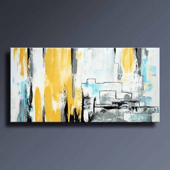 Les 25 meilleures id es de la cat gorie peintures de toile - Peinture jaune pale ...