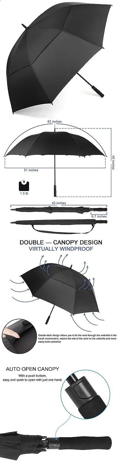 Golf Umbrellas 18933: Rainlax Windproof Golf Umbrella 62 Inch Extra Large Double Canopy Automatic Open -> BUY IT NOW ONLY: $30.65 on eBay!