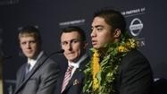 Heisman Trophy finalists, from right, Manti Te'o, of Notre Dame; Johnny Manziel, of Texas A and Collin Klein, of Kansas State, attend a news conference prior to the announcement of the trophy winner, Saturday, Dec. 8, 2012, in New York. (AP Photo/Henny Ray Abrams)