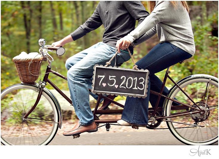 #savethedate engagement tandem bike