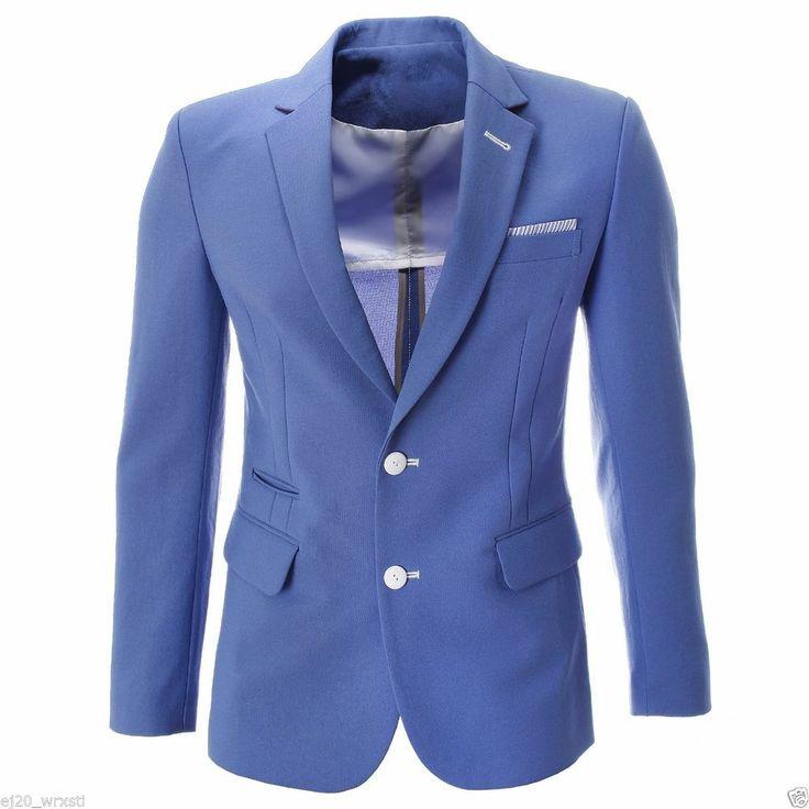 FLATSEVEN Mens Slim Single Two Button Solid Long Sleeve Blazer Jacket (BJ460)