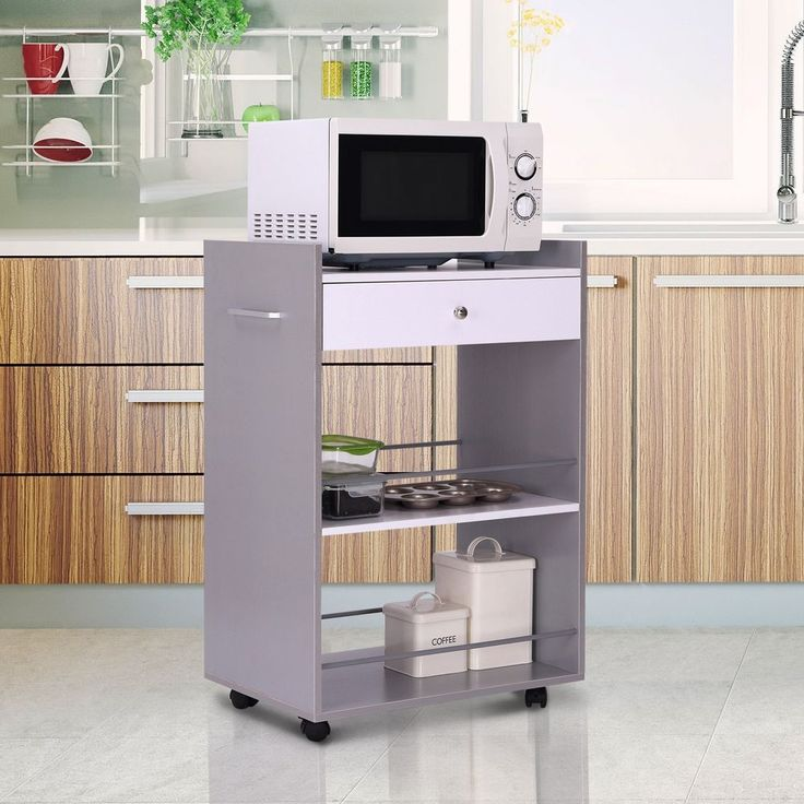 kitchen trolley cart 1 drawer shelf storage grey white