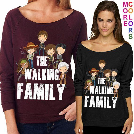 The Walking Family - Walking Dead Parody - Ladies' Terry Raw-Edge 3/4-Sleeve Raglan Tee - S-2XL in 13 colors