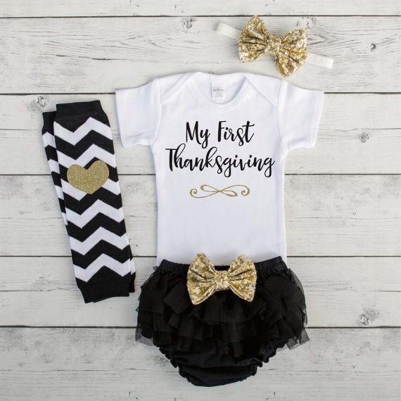 Baby First Thanksgiving Outfit Baby Girl Thanksgiving Outfit 1st Thanksgiving Girl My 1st Thanksgiving Newborn Thanksgiving Outfit by BumpAndBeyondDesigns