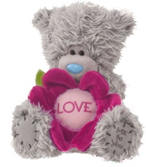 """Teddy Bear - Cute little Tatty holds a pink flower with the word """"Love"""" on it. - $15.99"""