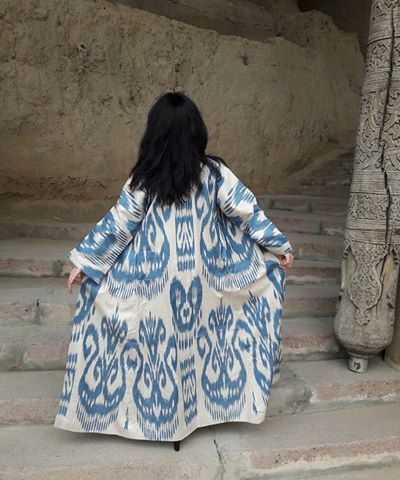 Handwoven Ikat Adras Cotton  chapan from by SuzaniUzbekistan