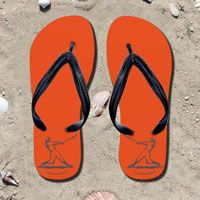 Baseball Batter Silhouette on Orange Flip Flops - Kick back after a baseball game with these great flip flops! Fun and functional flip flops for all baseball players and fans.