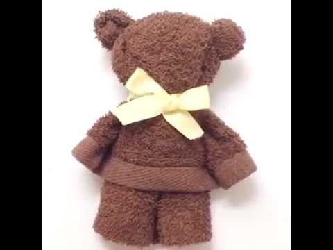 make a cute bear from a towel - YouTube