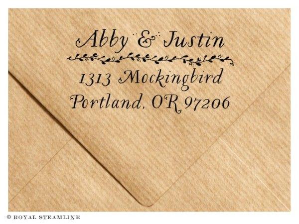 Floral wood handled address stamp by Royal Steamline