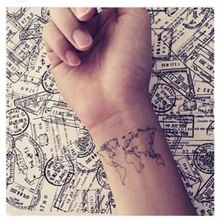 This global canvas:   17 Tiny Travel Tattoos For Your Next Big Adventure