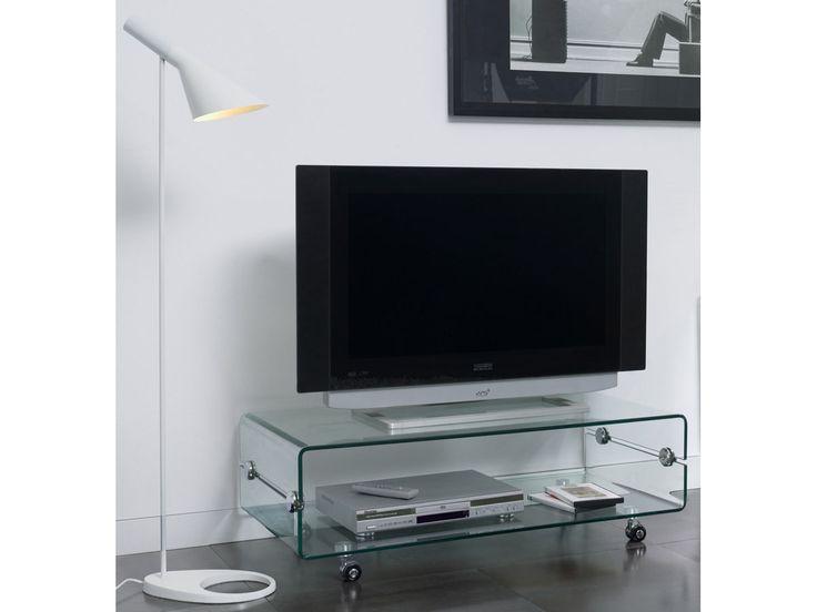 """Meuble TV verre à roulettes """"Laura"""" - 100 x 50 x 35 cm 83918"""