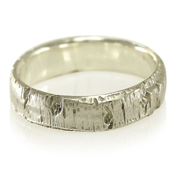 Aspen Tree Bark Wedding Band In Recycled Silver Recycled Silver Ring Mens W