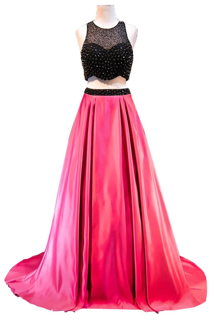 Flowerfaeried Women\'s Long 2 Piece Prom Dresses with Pears Side ...