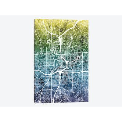 East Urban Home 'Color Gradient Urban Street Map Series: Atlanta, Georgia, USA' by Michael Tompsett Graphic Art on Wrapped Canvas Size: