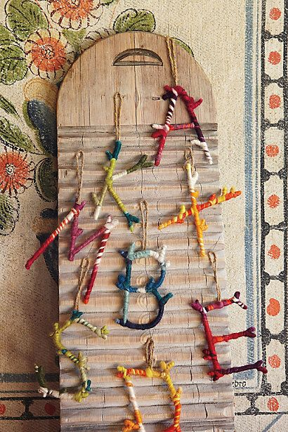 yarn wrapped branch letters....clever and quirky Christmas ornaments, or year round decor!