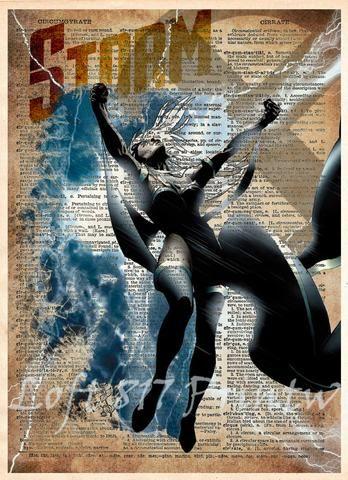 Storm Xmen art, Super Hero pop art, Book page art, Storm art print -