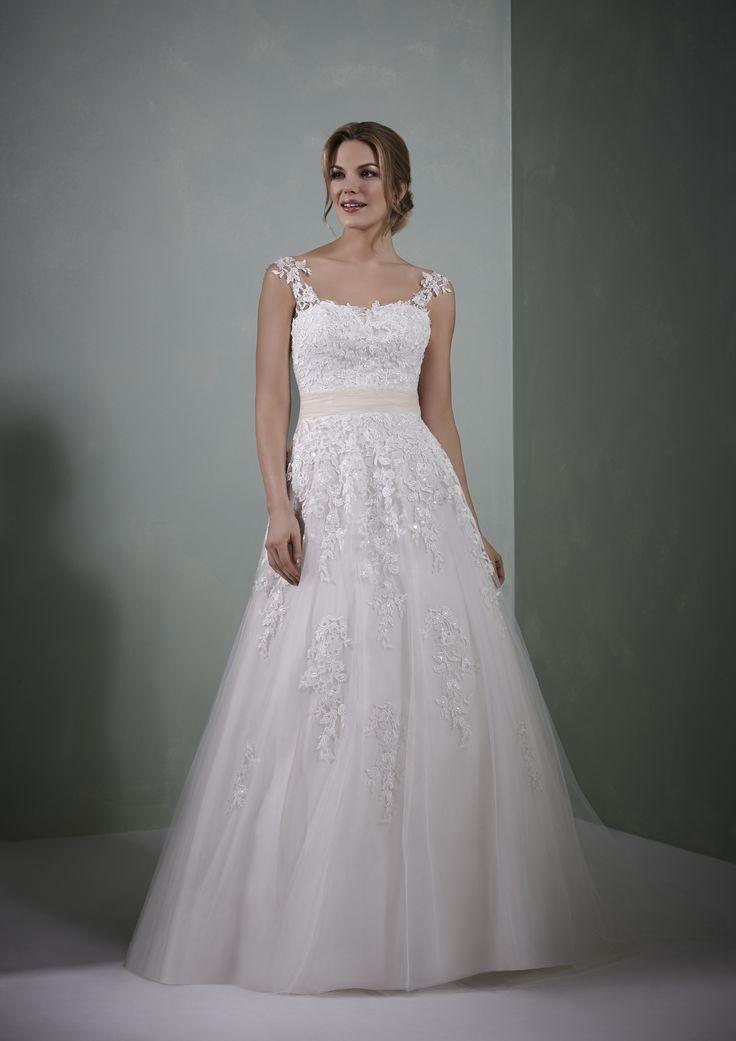 Romantica Honour Ivory Lace Princess Style Bridal Gown With Blush Trim