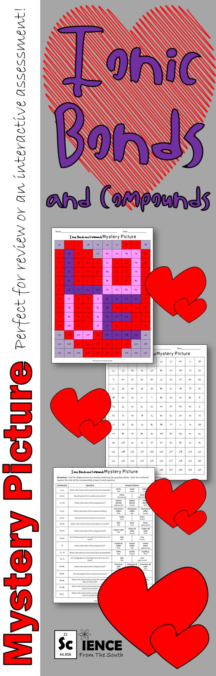 Ionic bonds and compounds chemical formulas and names engaging Valentine's Day activity!