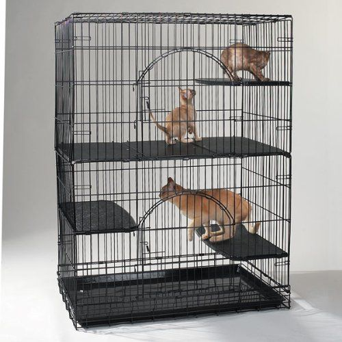 ProSelect Plastic Cat Cage Deluxe Platforms, Set of 3 Cat cage deluxe platform made of durable, easy-to-clean black plastic. Deluxe platforms can be attached at any height in cat cage to provide a comfortable place for cats to lounge. Used separately, each platform creates a deluxe, extra-wide perch. Attach all three side-by-side along length of the cage to create a sturdy floor that divides the c... #Pro_Select #Pet_Products