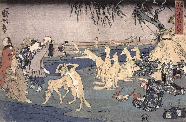 Title: Foxes Practicing the Art of Transformation (Kitsune no keiko, 狐の化のけいこ)    maker: Kuniyoshi