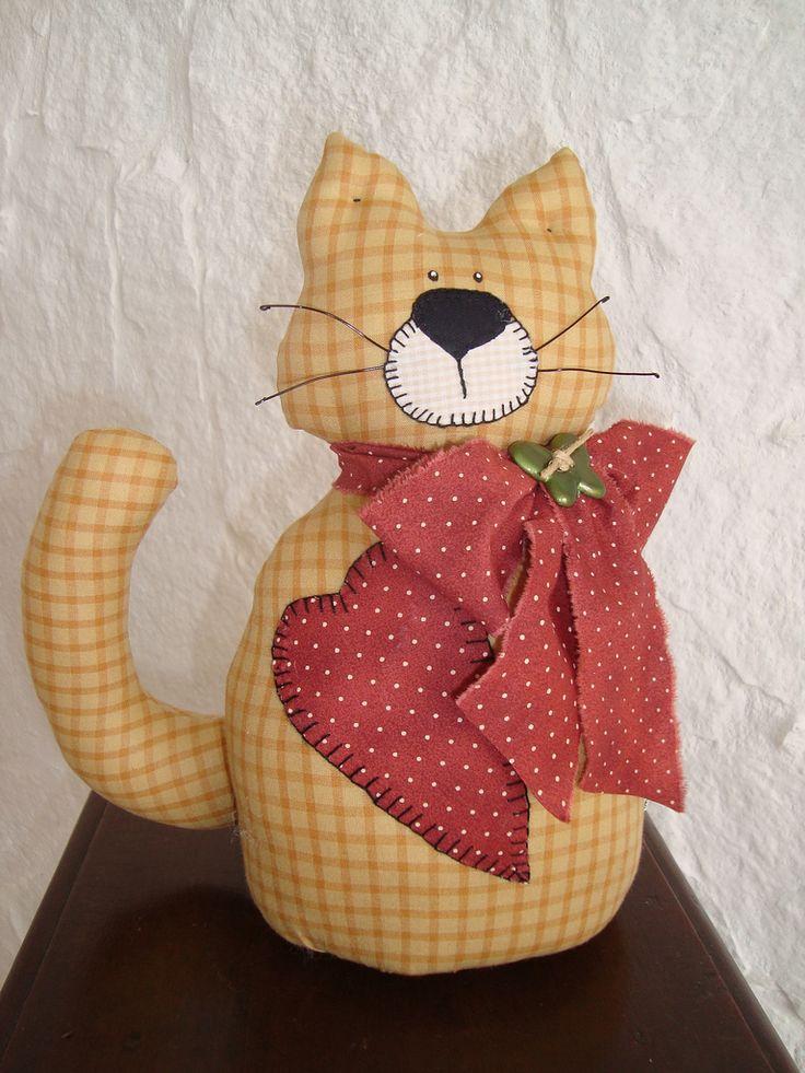 Peso de puerta con forma de gato en tela de cuadros