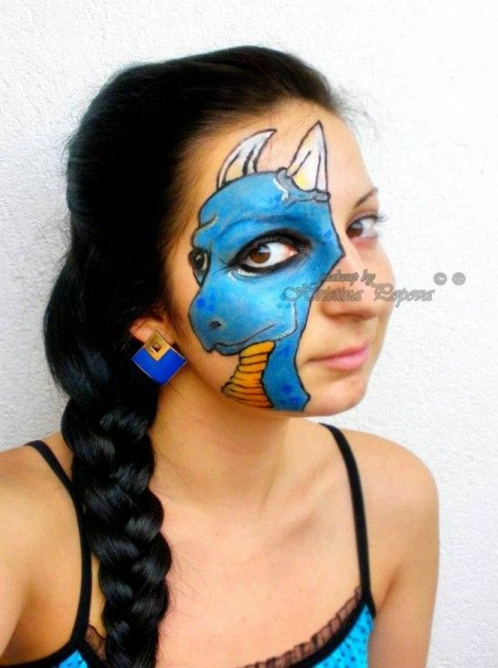 Little Blue Dragon Art Makeup: Love how the perspective of the dragon is done so that the model's eye fits perfectly.
