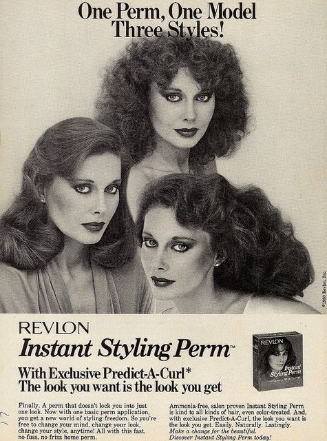 Revlon Home Perm Ad, Cosmo Magazine 1980. Perms! (from retro-space/Flickr)