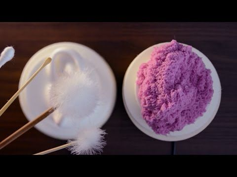 "ASMR Japanese Ear Cleaning (No Talking). My 1st question: do people's ears ever get THAT crusty? LOL!! The pink stuff is called ""Skwooshi""--a type of ""magic"" sand that's stretchy, moldable and doesn't 'flow' like true sand. Looks like wasabi. Don't know where to buy it."