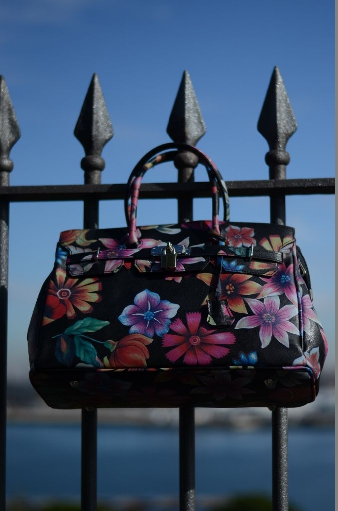 Luigia Top Handle Bag-Saffiano Floral Print Black Leather www.bidinis.com