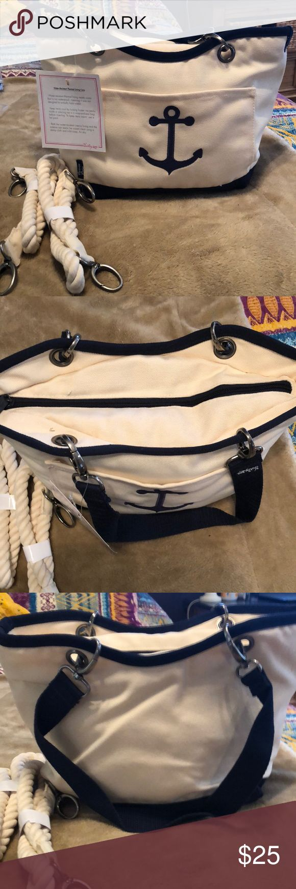 NWT thirty one canvas thermal bag NWT canvas anchor thirty one thermal lunch bag  Water resistant thermal lining  Comes with extra set of handles to change out to nautical rope ones  Super cute thirty-one Other