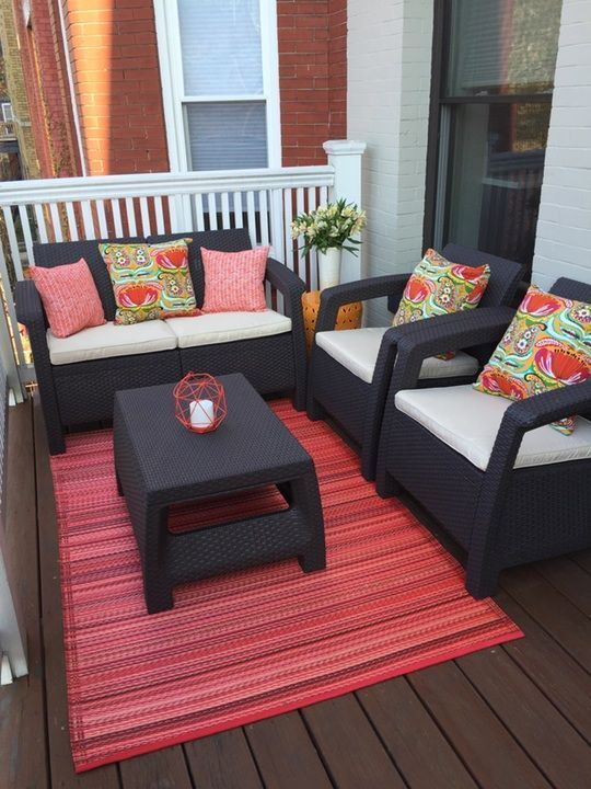 Best 25 small back porches ideas on pinterest screened for Condo balcony furniture