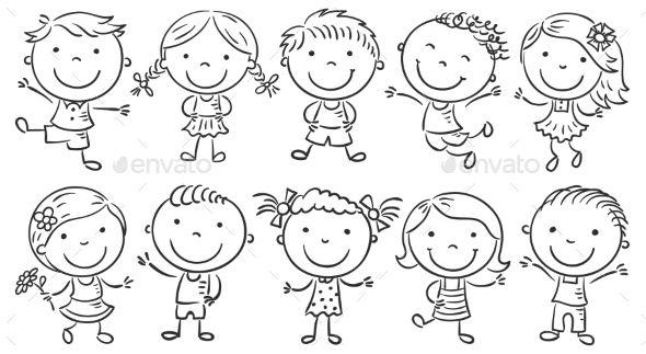 Ten Happy Cartoon Kids Design Vector Template – Pe…
