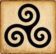 Trisquel celta - Se ha hablado mucho sobre su significado y son muchas las culturas en las que nos encontramos con este atrayente dibujo. En la cultura celta se le da un valor solar o astral, además de ser un símbolo de buena suerte y contra el mal de ojo...