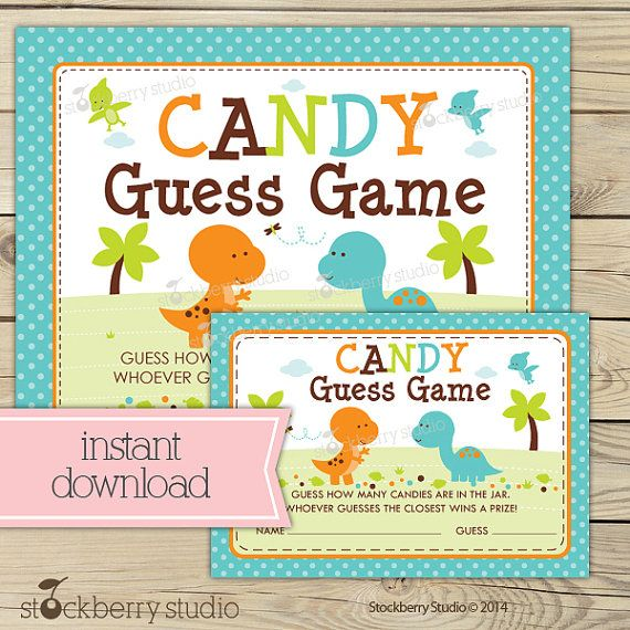 Dinosaur Baby Shower Candy Guessing Game Printable - Instant Download - Boy Baby Shower Games - Dino Party - T Rex Baby Shower Activity